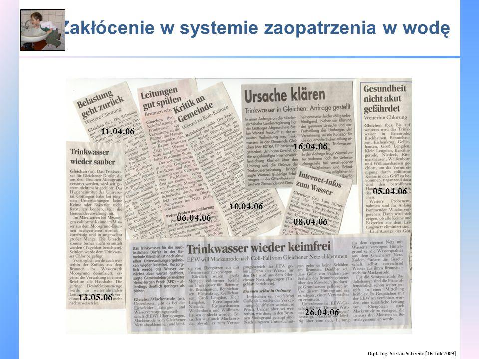 Zakłócenie w systemie zaopatrzenia w wodę Dipl.-Ing. Stefan Scheede [16. Juli 2009] 13.05.06 05.04.06 06.04.06 08.04.06 10.04.06 11.04.06 16.04.06 26.