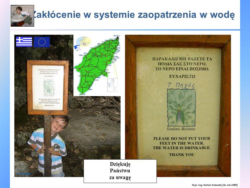 Zakłócenie w systemie zaopatrzenia w wodę Dipl.-Ing. Stefan Scheede [16. Juli 2009] 17/10/2008 Dziękuję Państwu za uwagę