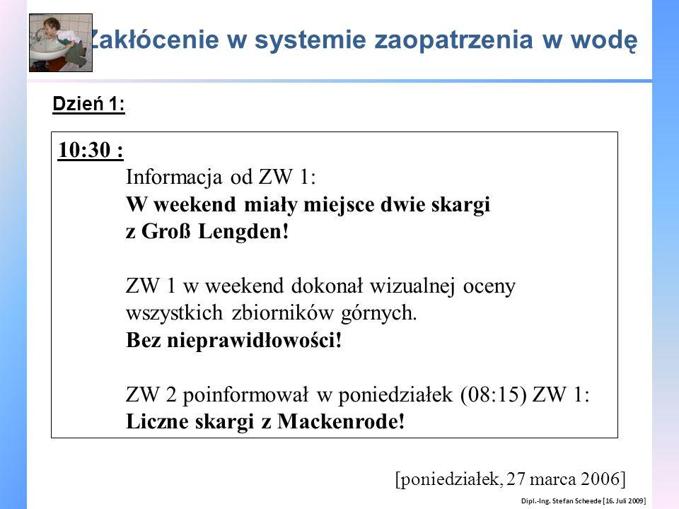 Zakłócenie w systemie zaopatrzenia w wodę Dipl.-Ing. Stefan Scheede [16. Juli 2009] [poniedziałek, 27 marca 2006] 10:30 : Informacja od ZW 1: W weeken