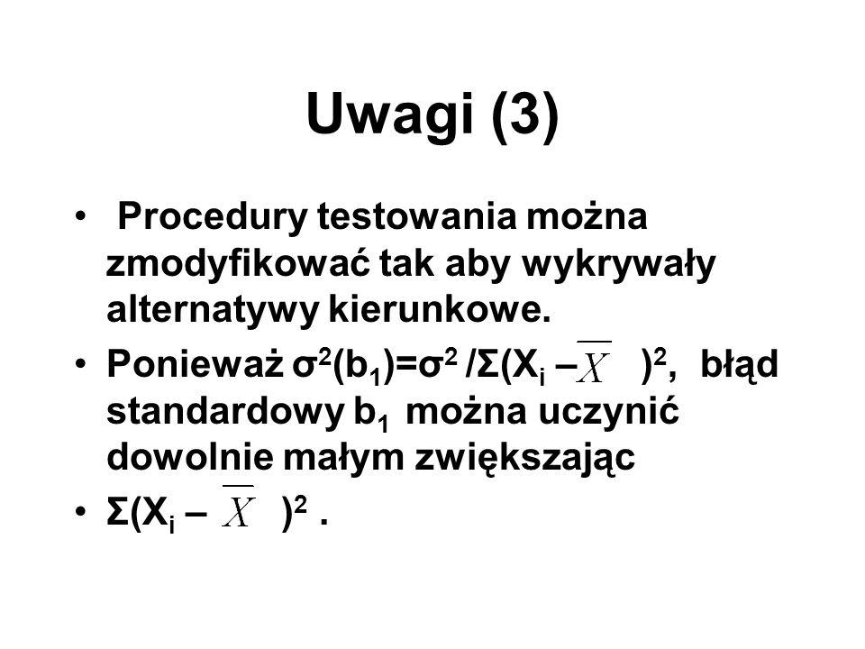 Uwagi (3) Procedury testowania można zmodyfikować tak aby wykrywały alternatywy kierunkowe. Ponieważ σ 2 (b 1 )=σ 2 /Σ(X i – ) 2, błąd standardowy b 1