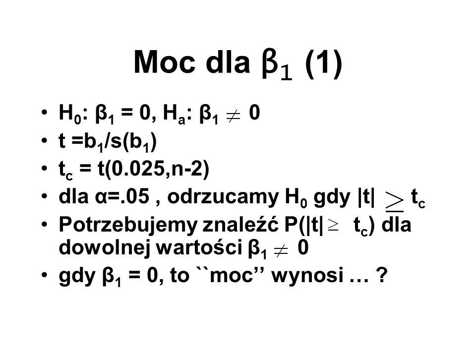 Moc dla β 1 (1) H 0 : β 1 = 0, H a : β 1 0 t =b 1 /s(b 1 ) t c = t(0.025,n-2) dla α=.05, odrzucamy H 0 gdy |t| t c Potrzebujemy znaleźć P(|t| t c ) dl