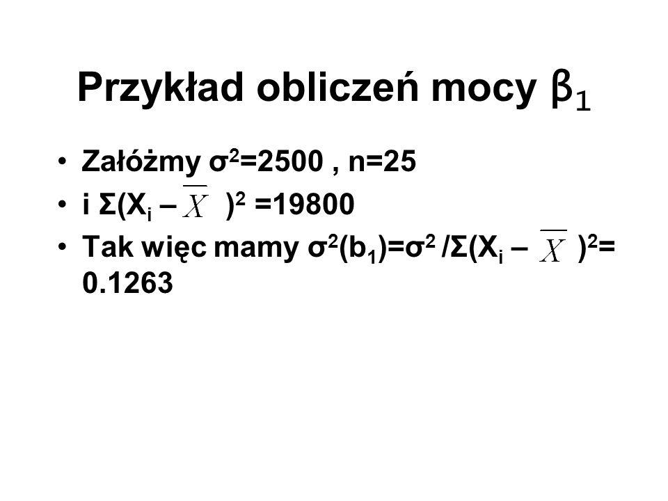 Przykład obliczeń mocy β 1 Załóżmy σ 2 =2500, n=25 i Σ(X i – ) 2 =19800 Tak więc mamy σ 2 (b 1 )=σ 2 /Σ(X i – ) 2 = 0.1263