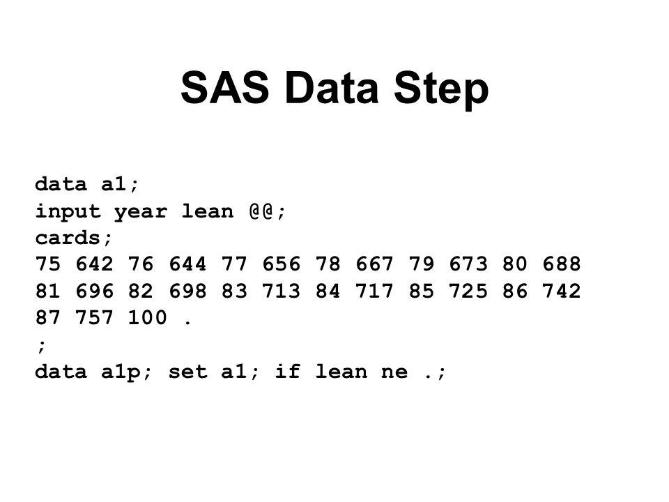 SAS Proc Print proc print data=a1; run;