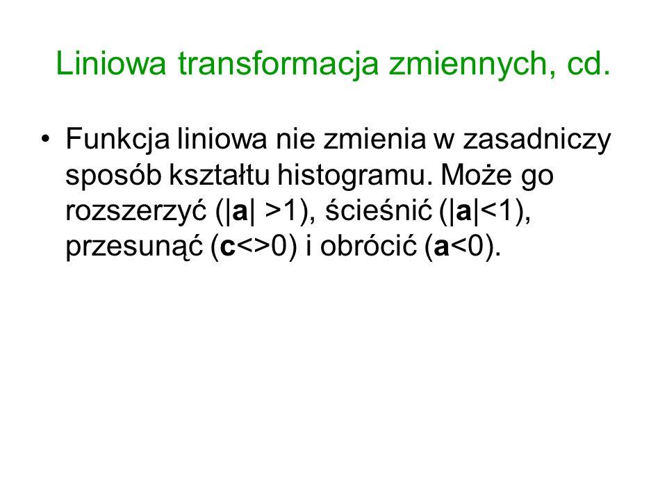 Liniowa transformacja zmiennych, cd. Funkcja liniowa nie zmienia w zasadniczy sposób kształtu histogramu. Może go rozszerzyć (|a| >1), ścieśnić (|a| 0