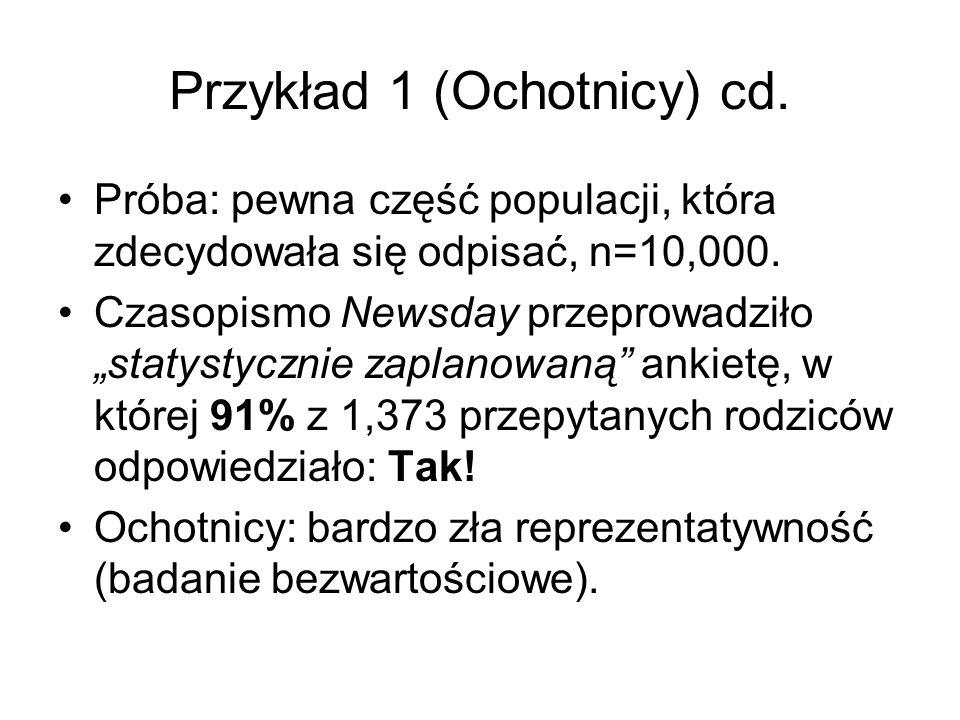 Przykład 1 (Ochotnicy) cd. Próba: pewna część populacji, która zdecydowała się odpisać, n=10,000. Czasopismo Newsday przeprowadziło statystycznie zapl