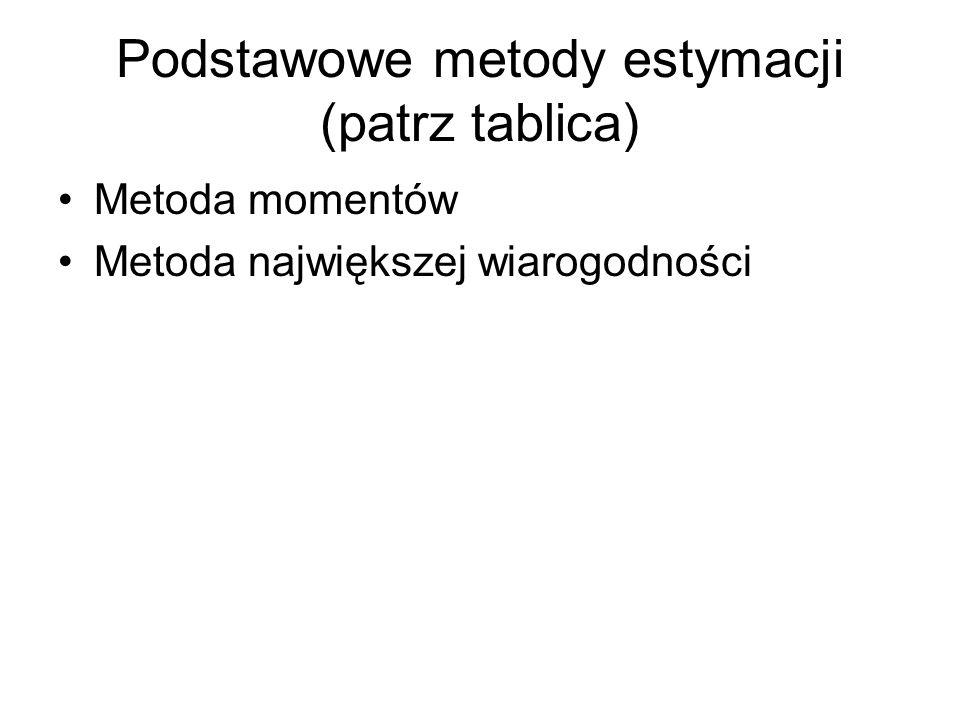 Podstawowe metody estymacji (patrz tablica) Metoda momentów Metoda największej wiarogodności