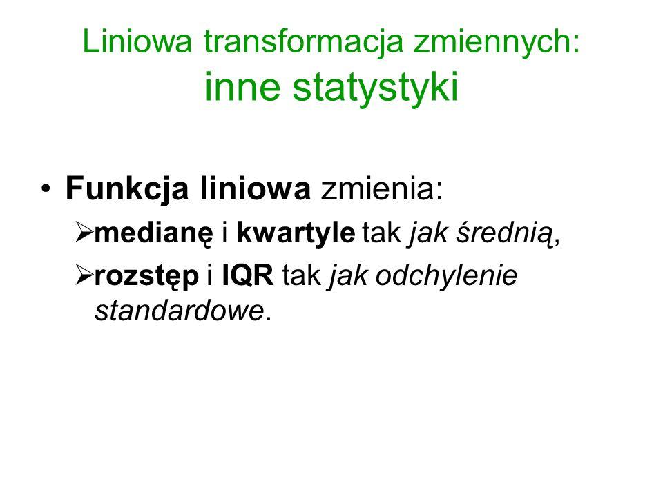 Transformacje nieliniowe Funkcje nieliniowe (np.