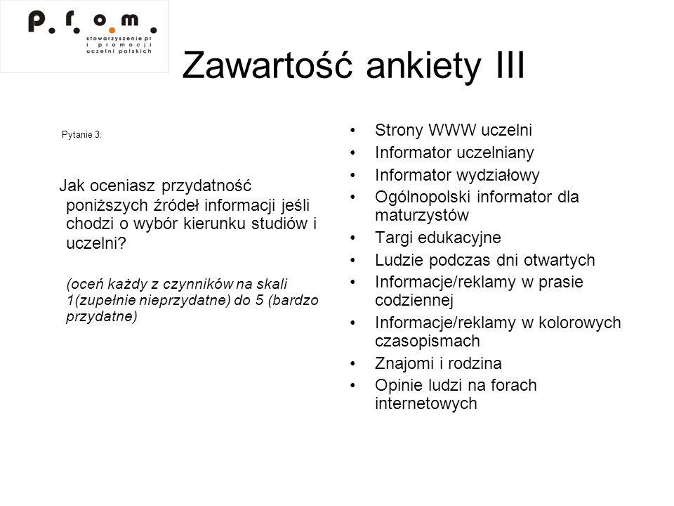 Zawartość ankiety IV Metryczka, a w niej: Wybrany wydział Wiek Płeć Miejsce stałego zamieszkania (podział na: Wrocław – Dolny Śląsk – reszta kraju) Średnia ocen na świadectwie