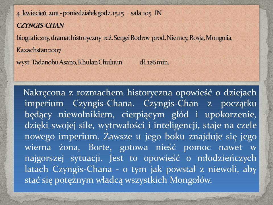 Nakręcona z rozmachem historyczna opowieść o dziejach imperium Czyngis-Chana. Czyngis-Chan z początku będący niewolnikiem, cierpiącym głód i upokorzen