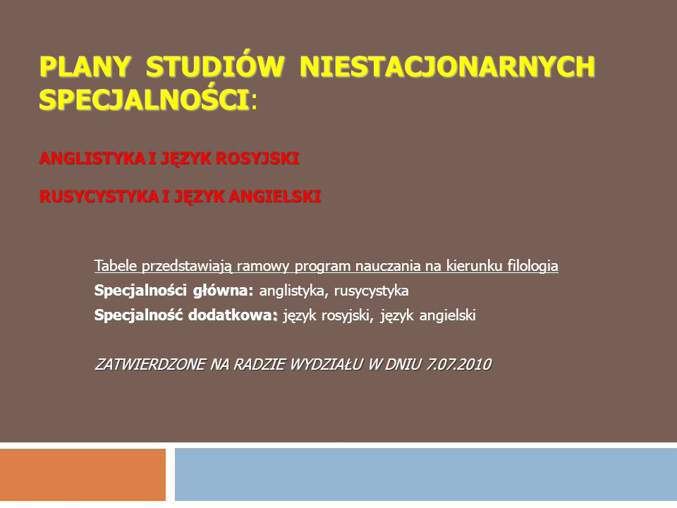 PLANY STUDIÓW NIESTACJONARNYCH SPECJALNOŚCI ANGLISTYKA I JĘZYK ROSYJSKI RUSYCYSTYKA I JĘZYK ANGIELSKI PLANY STUDIÓW NIESTACJONARNYCH SPECJALNOŚCI: ANG