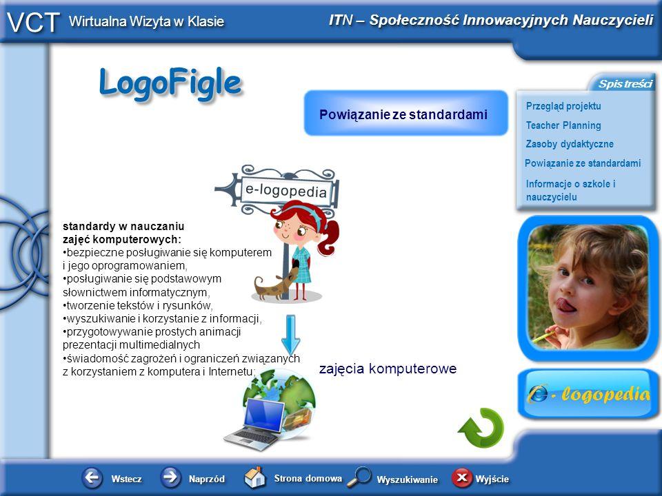 LogoFigleLogoFigle WsteczWstecz NaprzódNaprzód Strona domowa WyjścieWyjście Przegląd projektu ITN – Społeczność Innowacyjnych Nauczycieli Teacher Planning Powiązanie ze standardami Zasoby dydaktyczne Informacje o szkole i nauczycielu Spis treści VCT Wirtualna Wizyta w Klasie WyszukiwanieWyszukiwanie zajęcia komputerowe standardy w nauczaniu zajęć komputerowych: bezpieczne posługiwanie się komputerem i jego oprogramowaniem, posługiwanie się podstawowym słownictwem informatycznym, tworzenie tekstów i rysunków, wyszukiwanie i korzystanie z informacji, przygotowywanie prostych animacji prezentacji multimedialnych świadomość zagrożeń i ograniczeń związanych z korzystaniem z komputera i Internetu; Powiązanie ze standardami
