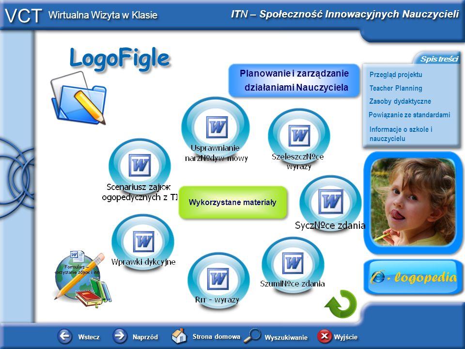 LogoFigleLogoFigle WsteczWstecz NaprzódNaprzód Strona domowa WyjścieWyjście Przegląd projektu ITN – Społeczność Innowacyjnych Nauczycieli Teacher Planning Powiązanie ze standardami Zasoby dydaktyczne Informacje o szkole i nauczycielu Spis treści VCT Wirtualna Wizyta w Klasie WyszukiwanieWyszukiwanie Wykorzystane materiały Planowanie i zarządzanie działaniami Nauczyciela