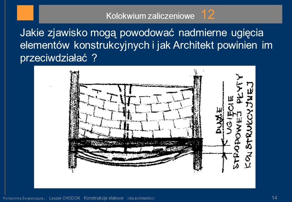 Kolokwium zaliczeniowe 12 Politechnika Świętokrzyska (, Leszek CHODOR Konstrukcje stalowe (dla architektów) 14 Jakie zjawisko mogą powodować nadmierne