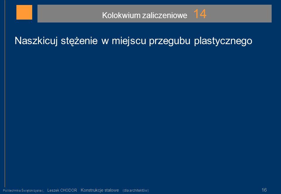 Kolokwium zaliczeniowe 14 Politechnika Świętokrzyska (, Leszek CHODOR Konstrukcje stalowe (dla architektów) 16 Naszkicuj stężenie w miejscu przegubu p