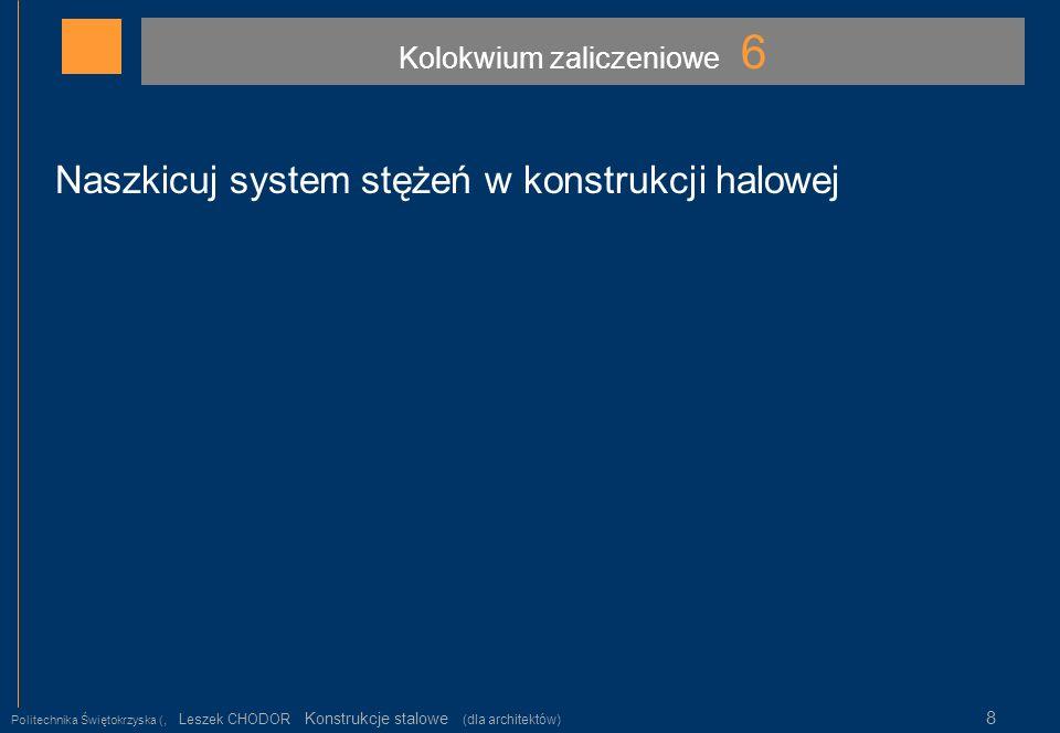 Kolokwium zaliczeniowe 6 Politechnika Świętokrzyska (, Leszek CHODOR Konstrukcje stalowe (dla architektów) 8 Naszkicuj system stężeń w konstrukcji hal