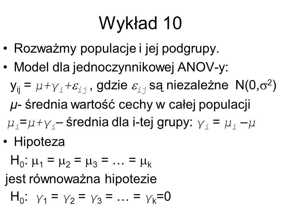 Model dwuczynnikowej ANOV-y Zrandomizowany układ blokowy Wpływ zabiegu: γ i, wpływ bloku: β j Model: –Y ijk = μ + γ i + β j + ε ijk Hipoteza –H 0 : γ 1 = γ 2 = γ 3 = … = γ k =0 (zabieg nie ma wpływu, nic o blokach) –H 1 : Nie H 0 (niektóre γ i są różne od zera)