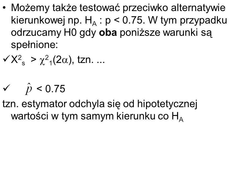 Możemy także testować przeciwko alternatywie kierunkowej np. H A : p < 0.75. W tym przypadku odrzucamy H0 gdy oba poniższe warunki są spełnione: X 2 s