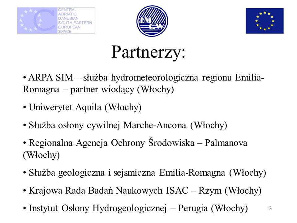 2 Partnerzy: ARPA SIM – służba hydrometeorologiczna regionu Emilia- Romagna – partner wiodący (Włochy) Uniwerytet Aquila (Włochy) Służba osłony cywiln
