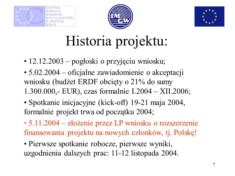 7 Historia projektu: 12.12.2003 – pogłoski o przyjęciu wniosku; 5.02.2004 – oficjalne zawiadomienie o akceptacji wniosku (budżet ERDF obcięty o 21% do