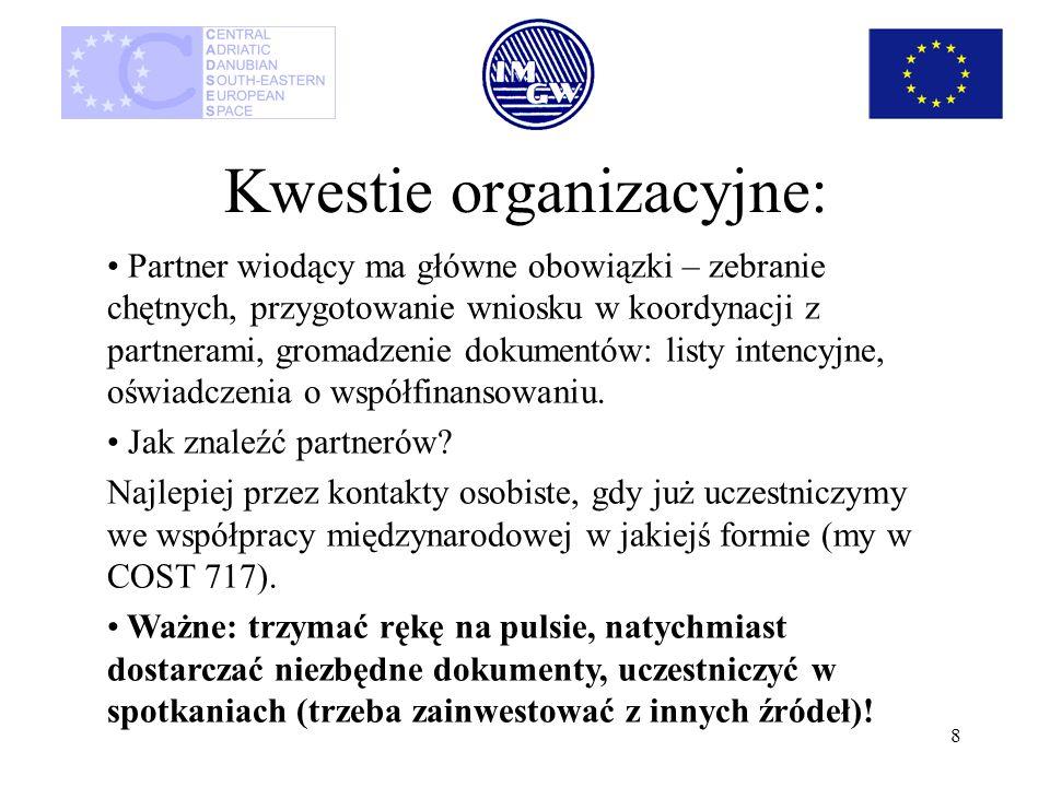 8 Kwestie organizacyjne: Partner wiodący ma główne obowiązki – zebranie chętnych, przygotowanie wniosku w koordynacji z partnerami, gromadzenie dokume