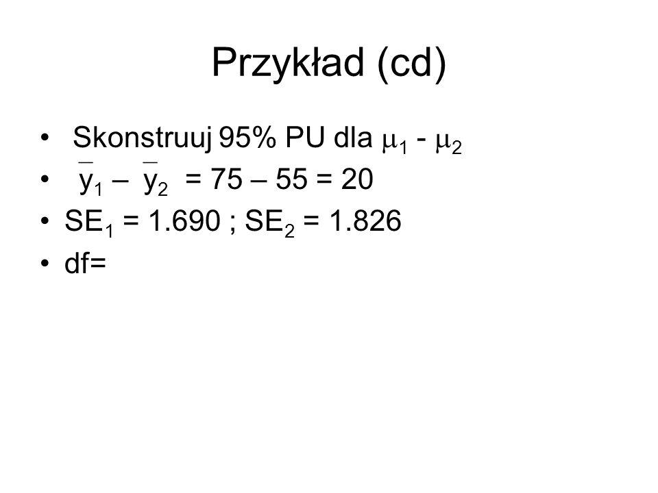 Przykład (cd) Skonstruuj 95% PU dla 1 - 2 y 1 – y 2 = 75 – 55 = 20 SE 1 = 1.690 ; SE 2 = 1.826 df=