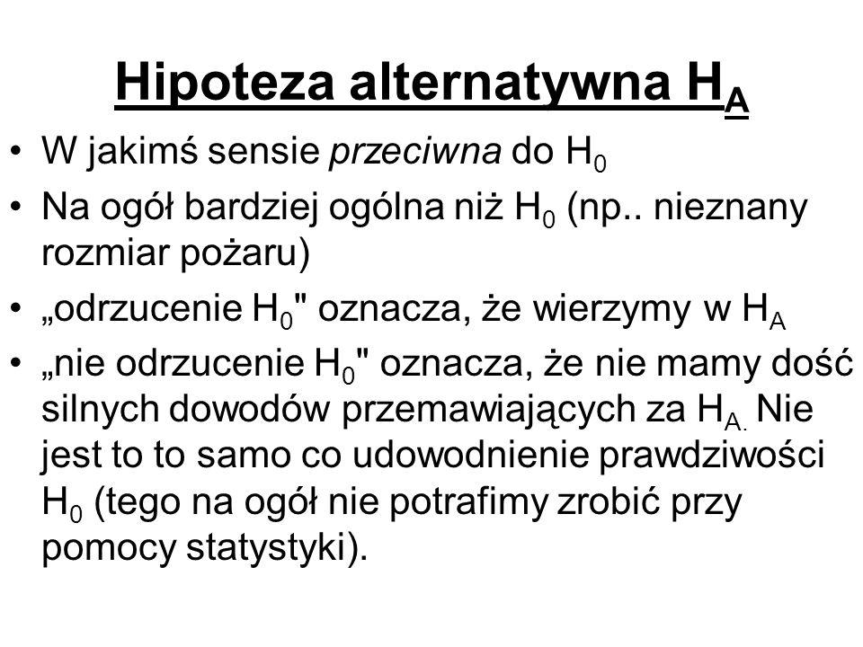 Hipoteza alternatywna H A W jakimś sensie przeciwna do H 0 Na ogół bardziej ogólna niż H 0 (np.. nieznany rozmiar pożaru) odrzucenie H 0