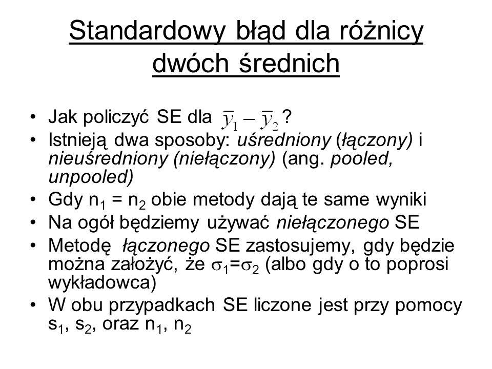 Standardowy błąd dla różnicy dwóch średnich Jak policzyć SE dla ? Istnieją dwa sposoby: uśredniony (łączony) i nieuśredniony (niełączony) (ang. pooled