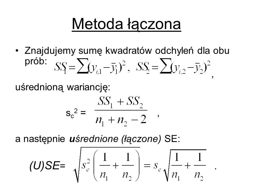 Metoda łączona Znajdujemy sumę kwadratów odchyleń dla obu prób:, uśrednioną wariancję: s c 2 =, a następnie uśrednione (łączone) SE: (U)SE =.