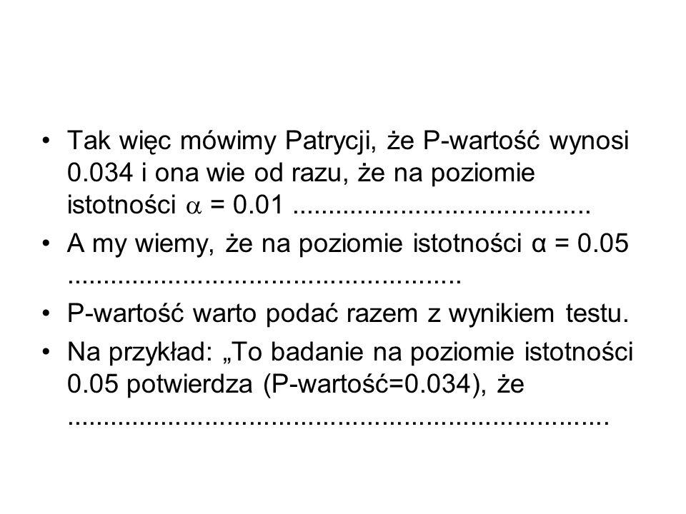 Tak więc mówimy Patrycji, że P-wartość wynosi 0.034 i ona wie od razu, że na poziomie istotności = 0.01......................................... A my