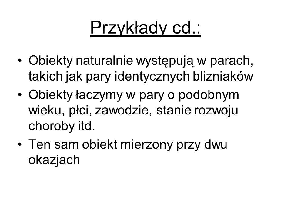 Przykłady cd.: Obiekty naturalnie występują w parach, takich jak pary identycznych blizniaków Obiekty łaczymy w pary o podobnym wieku, płci, zawodzie,