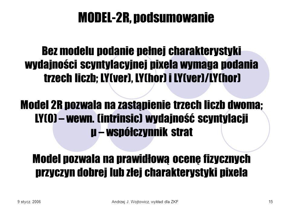 9 stycz. 2006Andrzej J. Wojtowicz, wykład dla ZKF15 MODEL-2R, podsumowanie Bez modelu podanie pełnej charakterystyki wydajności scyntylacyjnej pixela