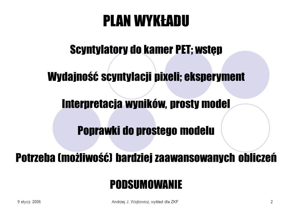 9 stycz. 2006Andrzej J. Wojtowicz, wykład dla ZKF2 PLAN WYKŁADU Scyntylatory do kamer PET; wstęp Wydajność scyntylacji pixeli; eksperyment Interpretac
