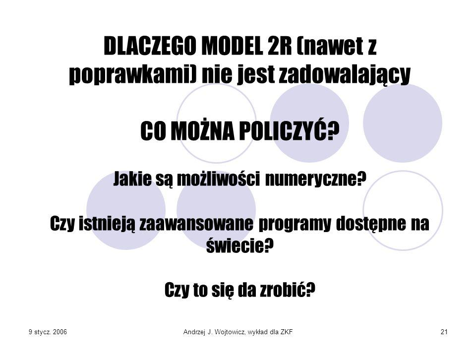 9 stycz. 2006Andrzej J. Wojtowicz, wykład dla ZKF21 DLACZEGO MODEL 2R (nawet z poprawkami) nie jest zadowalający CO MOŻNA POLICZYĆ? Jakie są możliwośc