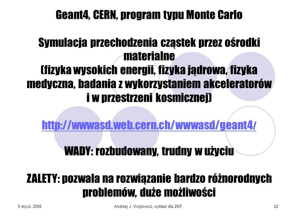9 stycz. 2006Andrzej J. Wojtowicz, wykład dla ZKF22 Geant4, CERN, program typu Monte Carlo Symulacja przechodzenia cząstek przez ośrodki materialne (f