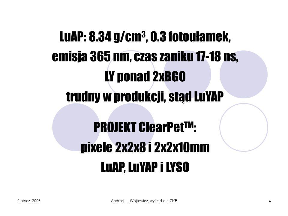 9 stycz. 2006Andrzej J. Wojtowicz, wykład dla ZKF4 LuAP: 8.34 g/cm 3, 0.3 fotoułamek, emisja 365 nm, czas zaniku 17-18 ns, LY ponad 2xBGO trudny w pro