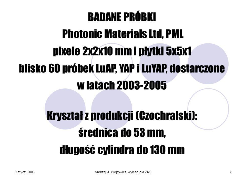 9 stycz. 2006Andrzej J. Wojtowicz, wykład dla ZKF7 BADANE PRÓBKI Photonic Materials Ltd, PML pixele 2x2x10 mm i płytki 5x5x1 blisko 60 próbek LuAP, YA