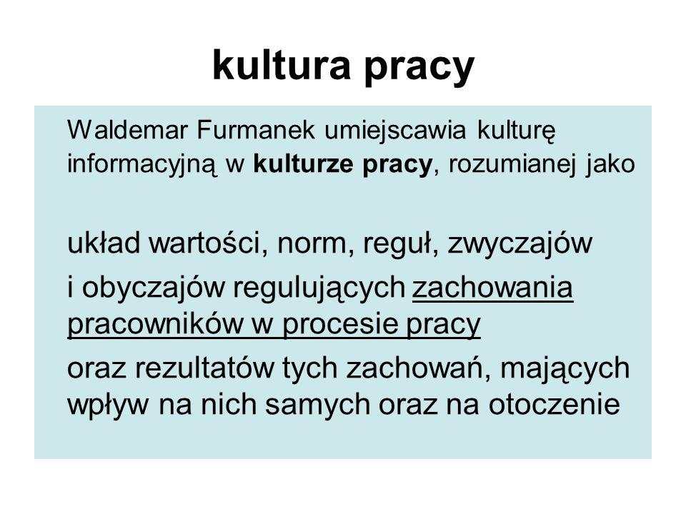 kultura pracy Waldemar Furmanek umiejscawia kulturę informacyjną w kulturze pracy, rozumianej jako układ wartości, norm, reguł, zwyczajów i obyczajów