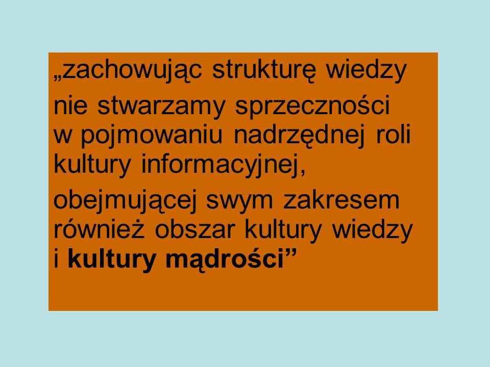 zachowując strukturę wiedzy nie stwarzamy sprzeczności w pojmowaniu nadrzędnej roli kultury informacyjnej, obejmującej swym zakresem również obszar ku