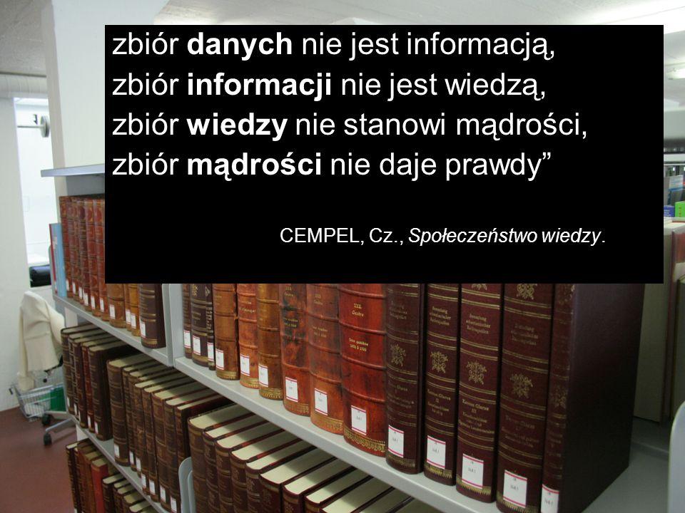 zbiór danych nie jest informacją, zbiór informacji nie jest wiedzą, zbiór wiedzy nie stanowi mądrości, zbiór mądrości nie daje prawdy CEMPEL, Cz., Spo
