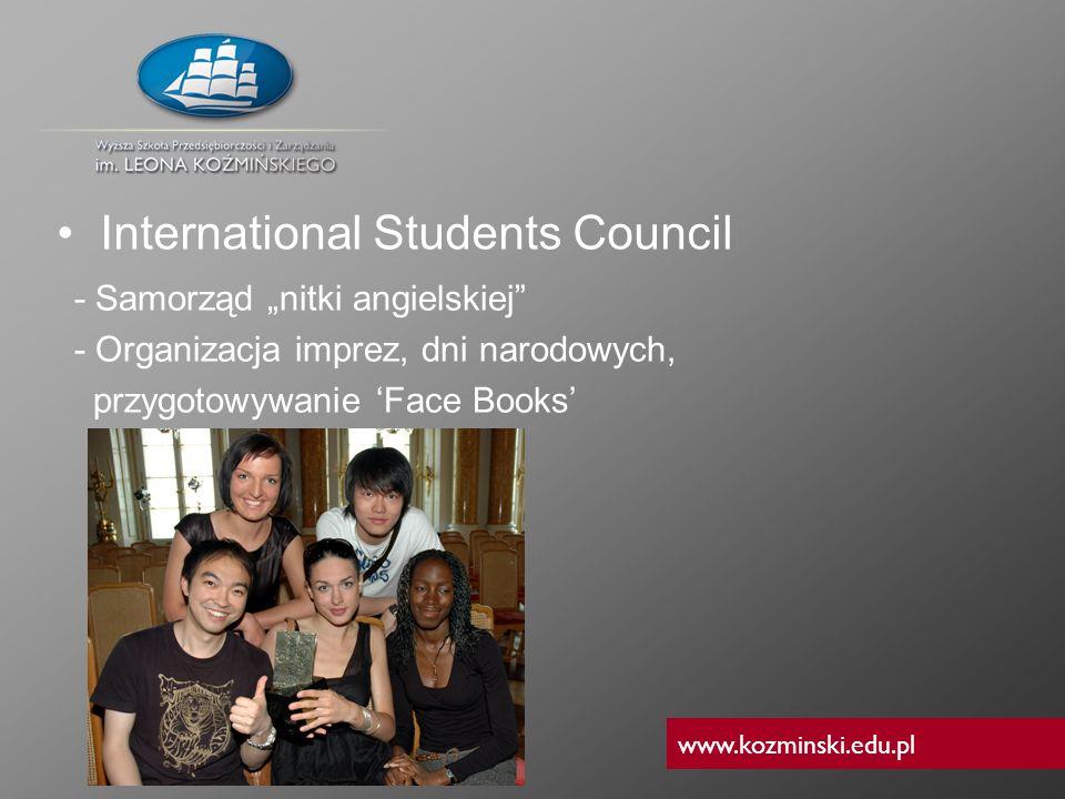 www.kozminski.edu.pl - Samorząd nitki angielskiej - Organizacja imprez, dni narodowych, przygotowywanie Face Books International Students Council