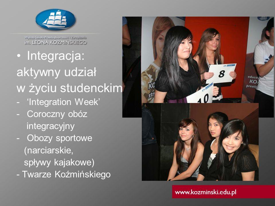 www.kozminski.edu.pl Integracja: aktywny udział w życiu studenckim -Integration Week -Coroczny obóz integracyjny -Obozy sportowe (narciarskie, spływy