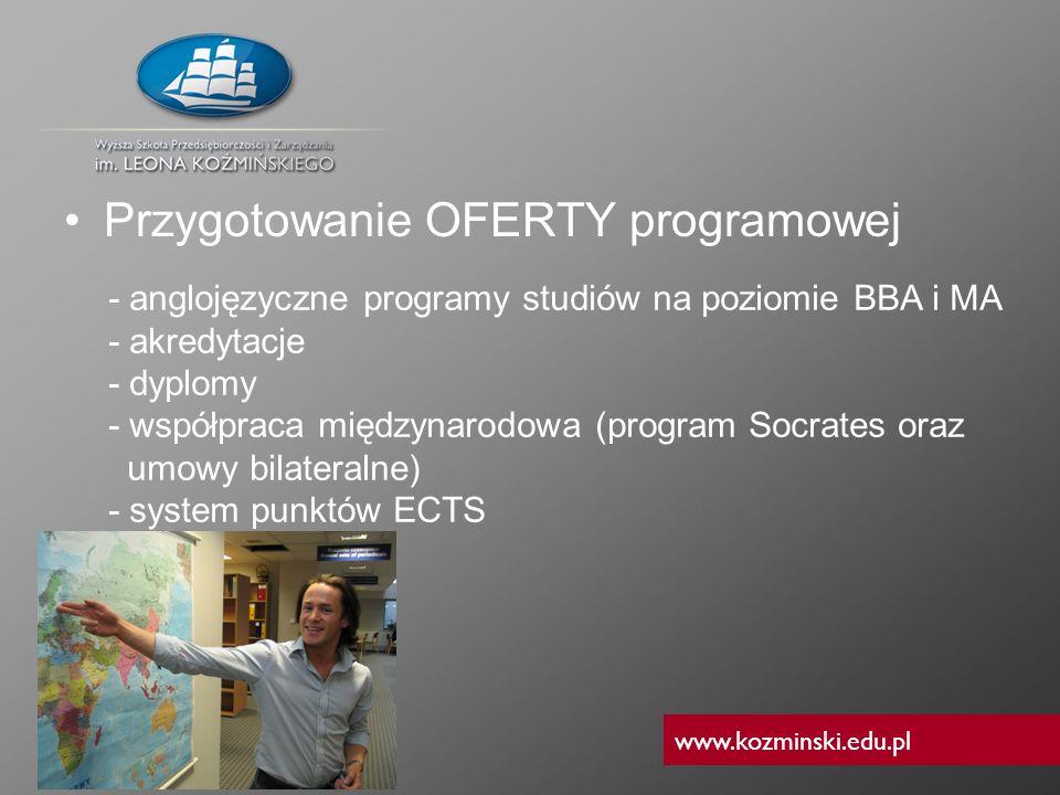 www.kozminski.edu.pl Przygotowanie OFERTY programowej - anglojęzyczne programy studiów na poziomie BBA i MA - akredytacje - dyplomy - współpraca międz