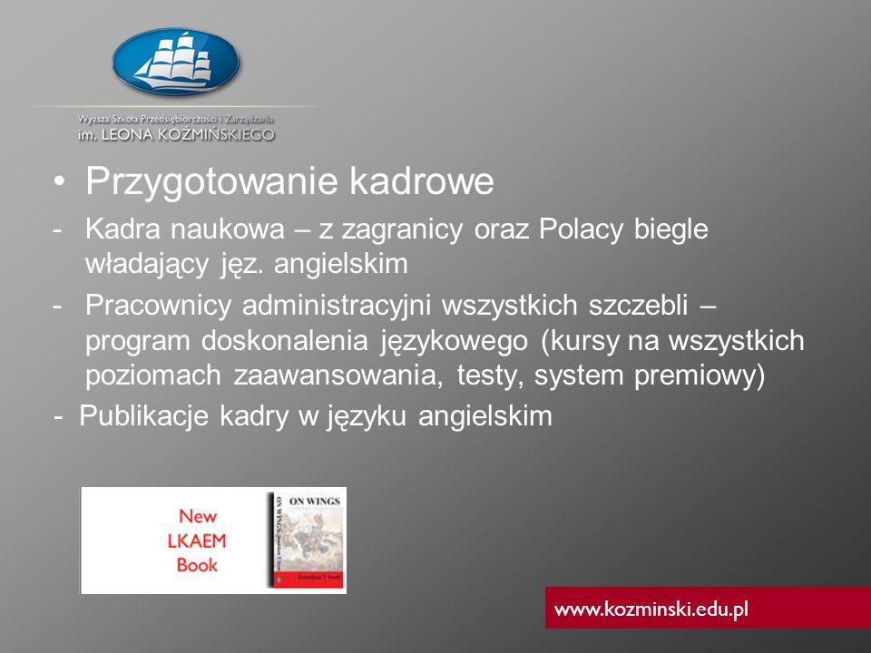 www.kozminski.edu.pl Przygotowanie kadrowe -Kadra naukowa – z zagranicy oraz Polacy biegle władający jęz. angielskim -Pracownicy administracyjni wszys