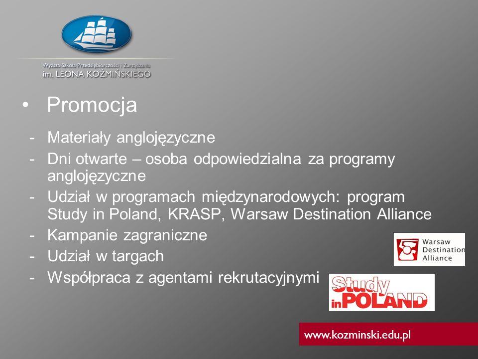 www.kozminski.edu.pl -Materiały anglojęzyczne -Dni otwarte – osoba odpowiedzialna za programy anglojęzyczne -Udział w programach międzynarodowych: pro