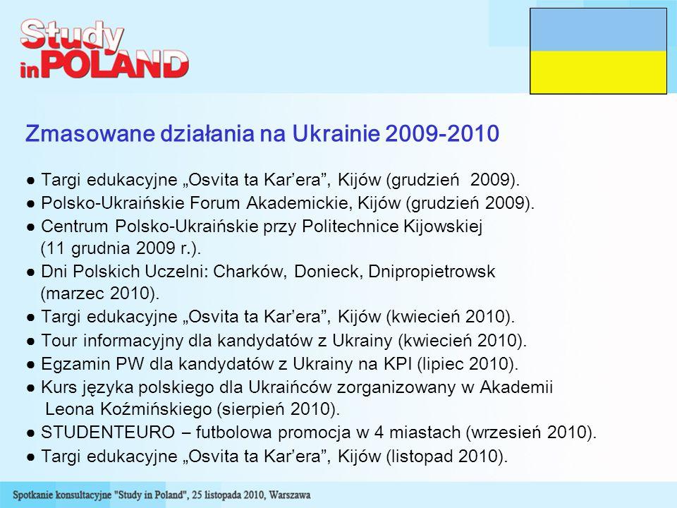 Zmasowane działania na Ukrainie 2009-2010 Targi edukacyjne Osvita ta Karera, Kijów (grudzień 2009).