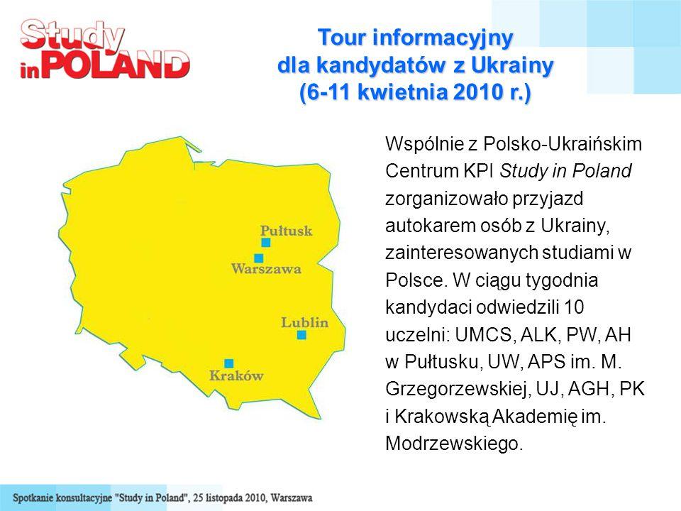 Tour informacyjny dla kandydatów z Ukrainy (6-11 kwietnia 2010 r.) Wspólnie z Polsko-Ukraińskim Centrum KPI Study in Poland zorganizowało przyjazd autokarem osób z Ukrainy, zainteresowanych studiami w Polsce.