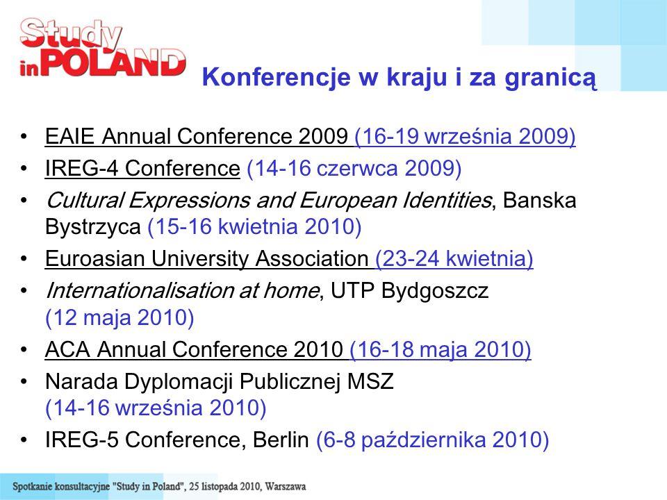 Konferencje w kraju i za granicą EAIE Annual Conference 2009 (16-19 września 2009) IREG-4 Conference (14-16 czerwca 2009) Cultural Expressions and European Identities, Banska Bystrzyca (15-16 kwietnia 2010) Euroasian University Association (23-24 kwietnia) Internationalisation at home, UTP Bydgoszcz (12 maja 2010) ACA Annual Conference 2010 (16-18 maja 2010) Narada Dyplomacji Publicznej MSZ (14-16 września 2010) IREG-5 Conference, Berlin (6-8 października 2010)