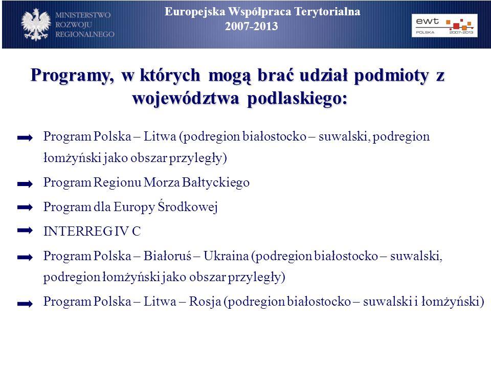 Europejska Współpraca Terytorialna 2007-2013 Programy, w których mogą brać udział podmioty z województwa podlaskiego: Program Polska – Litwa (podregio