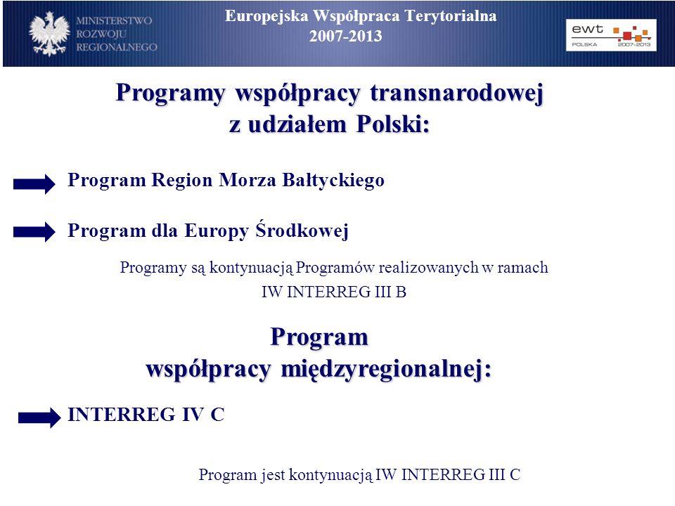 Programy współpracy transnarodowej z udziałem Polski: Program Region Morza Bałtyckiego Program dla Europy Środkowej Programy są kontynuacją Programów