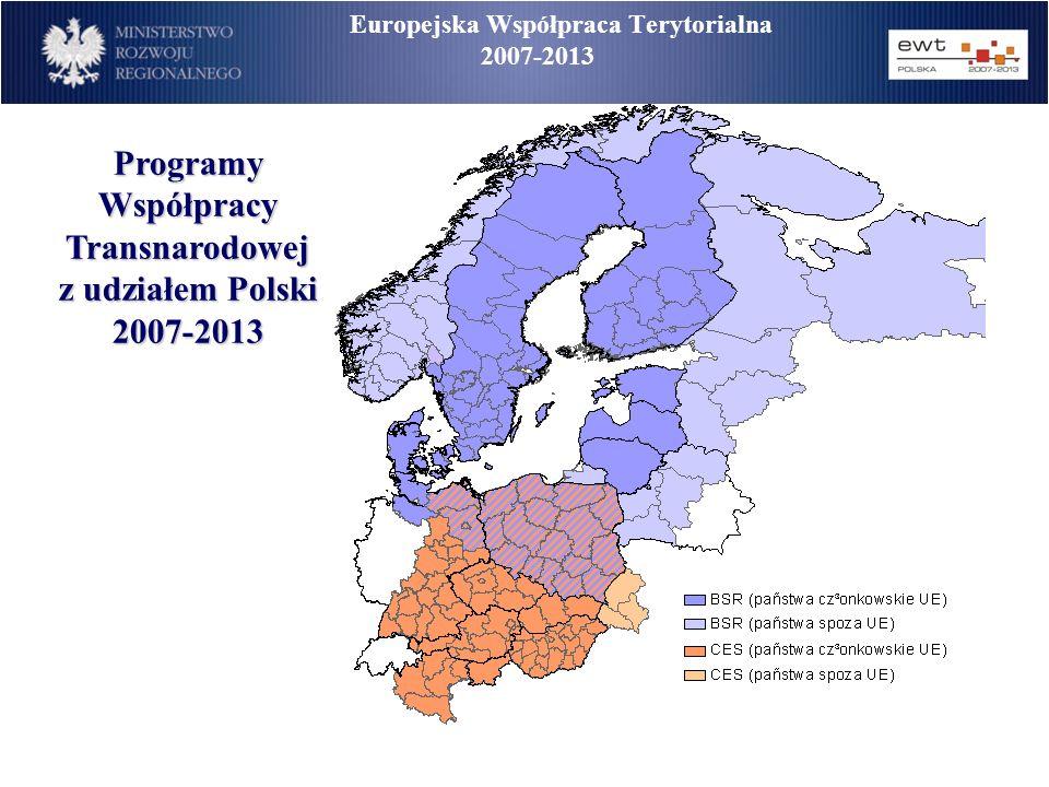 Europejska Współpraca Terytorialna 2007-2013 Programy Współpracy Transnarodowej z udziałem Polski 2007-2013